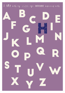 alphabet print in purple with custom patterned letters