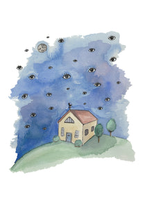 art print-a house and a night sky filled with eyes