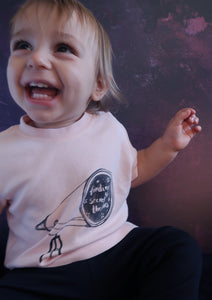 boys/ unisex pale pink tshirt with space telescope print