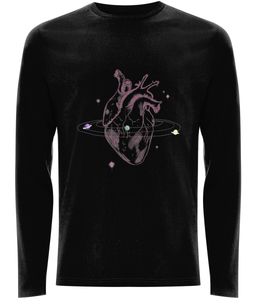 long sleeve black unisex tee with space heart print