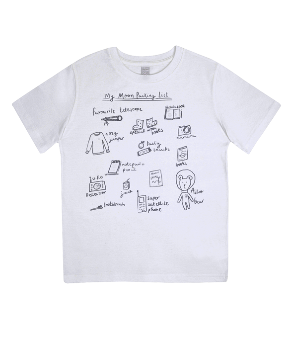 Moon Packing List Kids Organic T-shirt