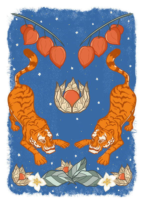 Tiger Tiger Art Print in Blue