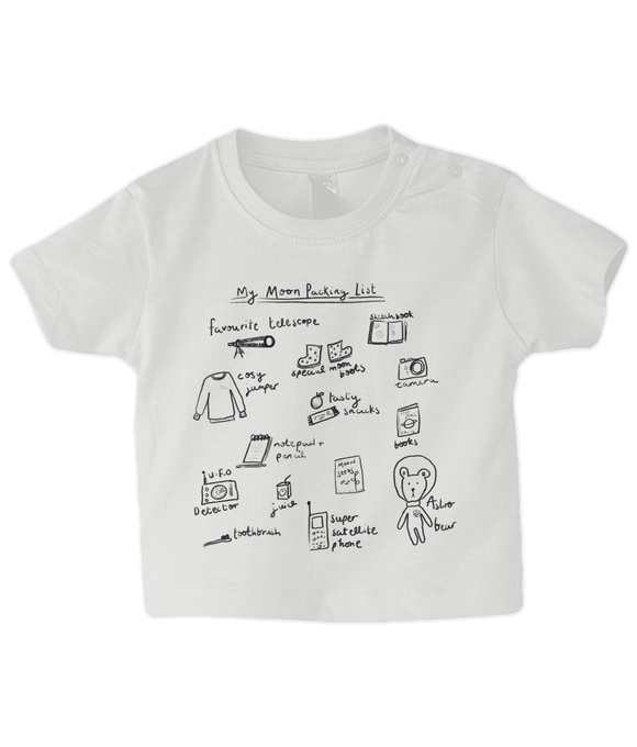 white baby top with rocket and space theme packing list