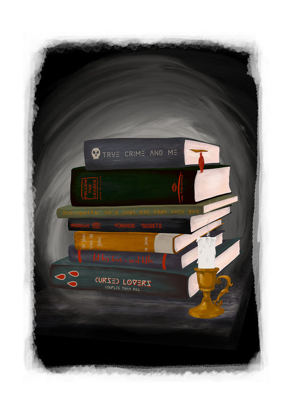 True Crime Book Stack Art Print (Personalise Me!)