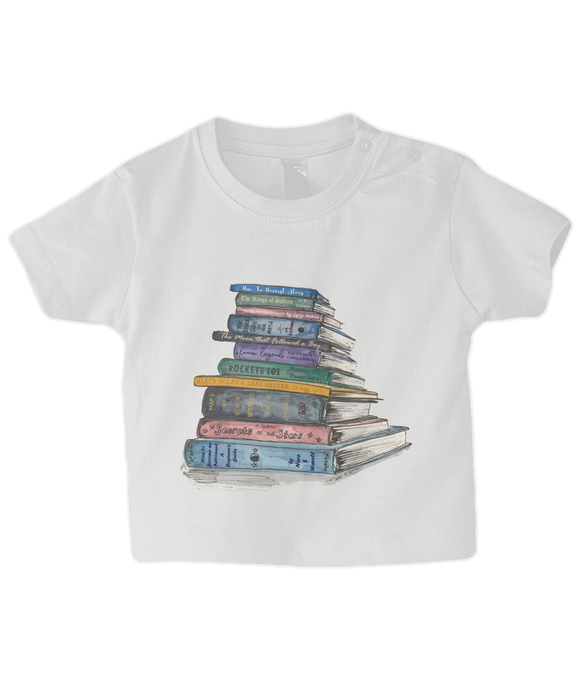 Baby tshirt with print of a stack of books all about space and stars