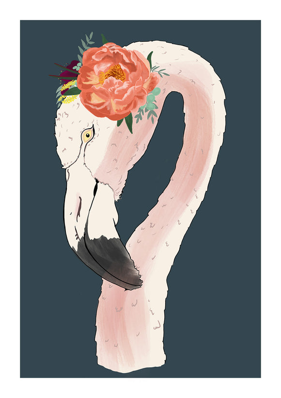 flamingo art print -an illustration of a flamingo head and neck, wearing a floral headband set on a dark blue background