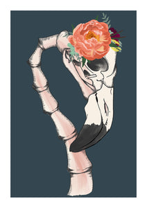 art print- illustration of a flamingo skeleton wearing a peony headband set on a dark blue background