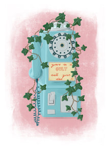 youre in a cult call your dad my favorite murder art print of old turquoise telephone with ivy growing over