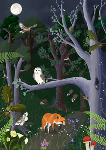 woodland art poster with nocturnal british wildlife