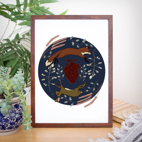 Take Heart Wild Ones- Fox and Hare Art Print