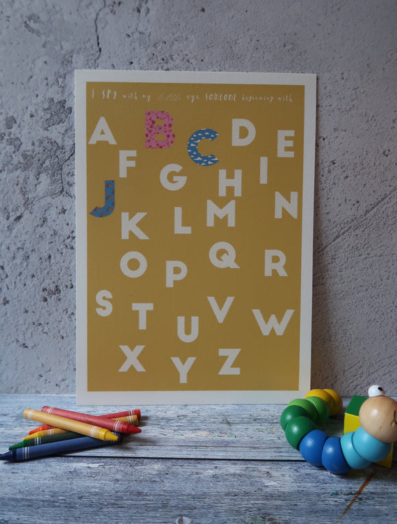 Custom Alphabet Art Print in Retro Yellow