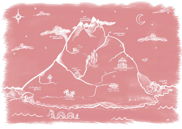 Imagination Island Art Print -Dusky Pink