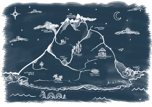 Imagination Island Art Print - Inky Blue