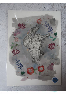 Sample - Owl Print with gold leaf