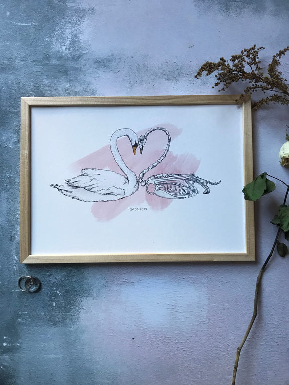 Swan and swan skeleton with heart shaped necks, personalised art print by Ink and Tot