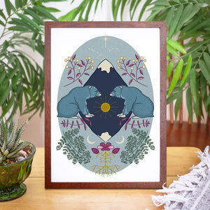 Sun and Moon Bears Art Print