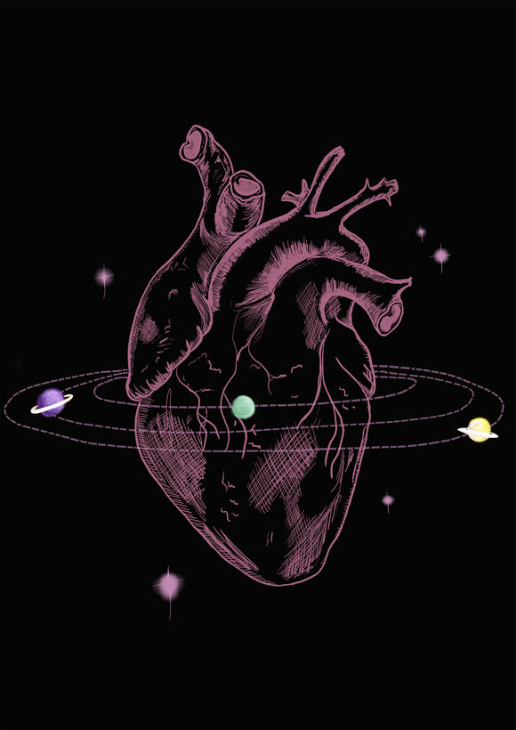 dark decor heart and planets space print for science lovers by Ink and Tot