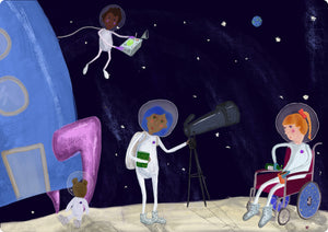 colourful illustration of three children landing their rocket on the moon