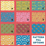 ditsy, floral, rainbow and cloud pattern options