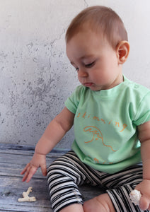 baby wearing mint and peach coloured summer tshirt