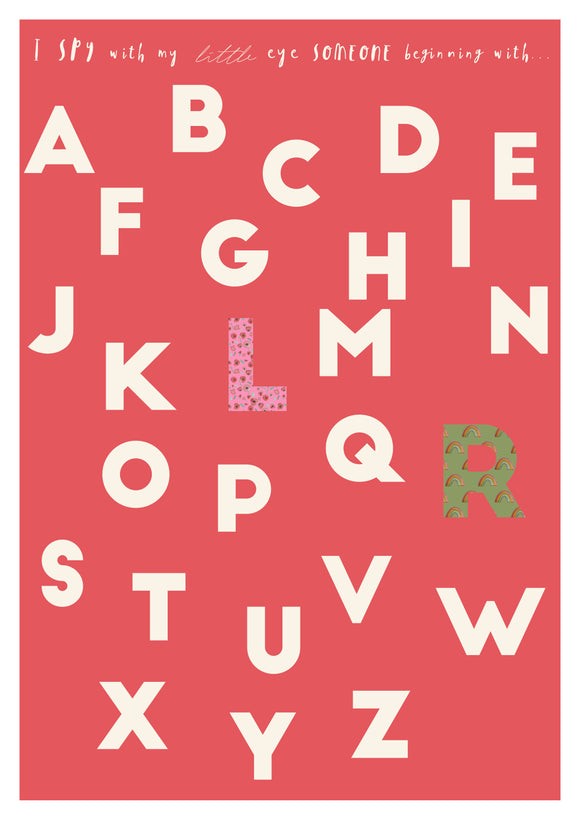 retro red alphabet print with floral and rainbow patterns