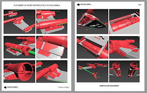 Placement of Plant-on Parts for 1/18 scale Hasbro Hero X-Wing Plant-on Parts Upgrade Set