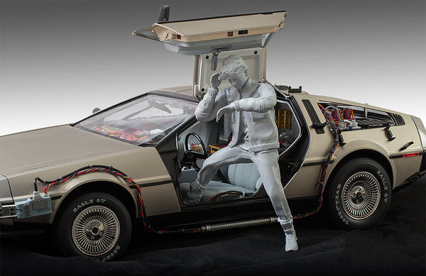 A driver / time traveler figure for Eaglemoss / DeAgostini 1/8 scale Delorean time machine from Back to the Future. The driver comes in three parts, the upper part, the lower part and the sunglasses.