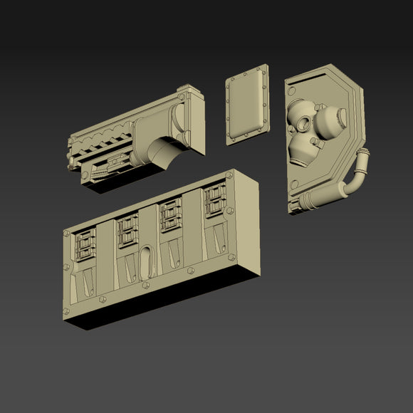 Greeblie Set for Studio Scale Y-Wing - Back Section - Port Parts