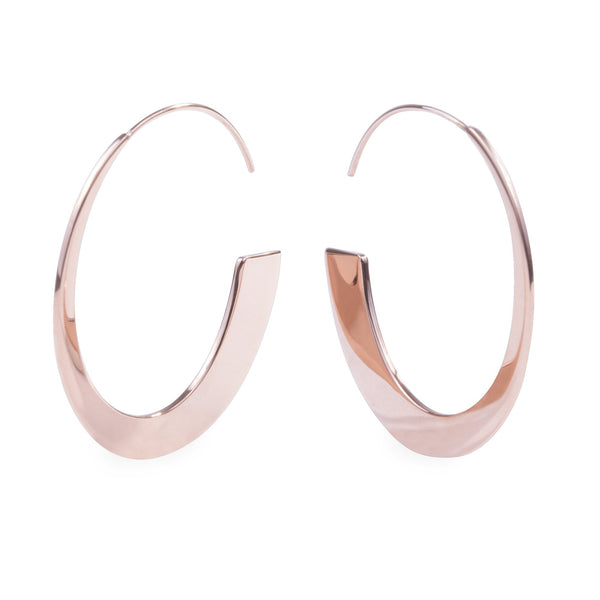 Rose gold retro modern hoop earrings hypoallergenic T119E002DORO MIA JEWELRY