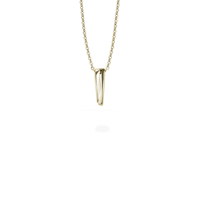 minimal edgy gold pendant stainless steel women