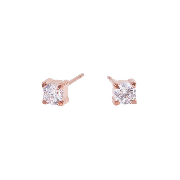 rose gold 4mm cubic zirconia stud earrings stainless steel MIA boucles d'oreilles pierre or rose T419E002DORO