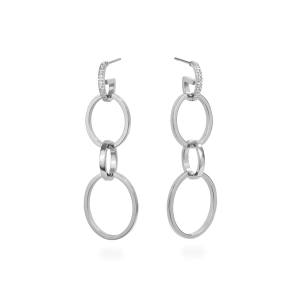 4-in-1 convertible hoop earrings stainless steel boucles d'oreilles anneaux acier inoxydable MIA T419E005AR