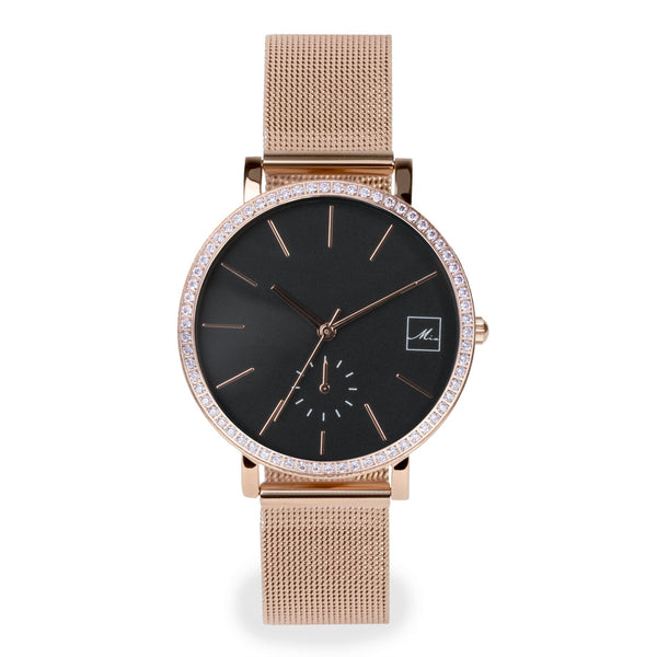 minimal rose gold watch with stones MIAJWL