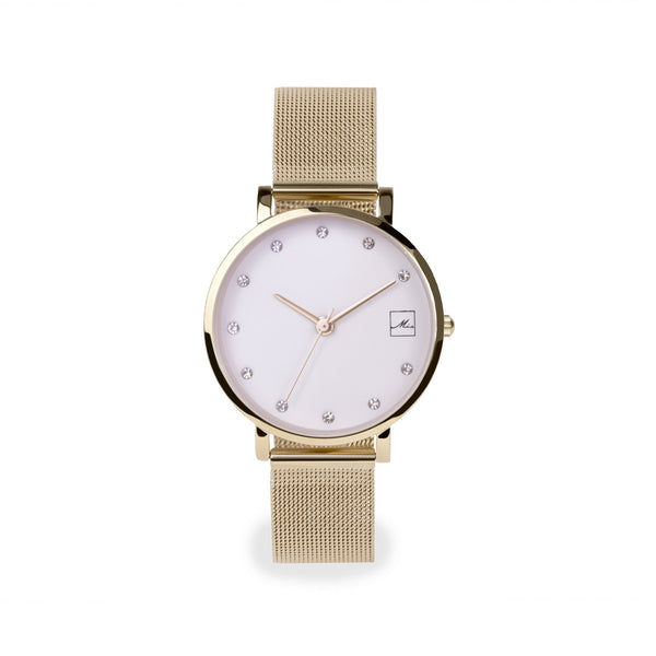 gold small and minimal watch with stones stainless steel W119M02DO MIA Jewelry