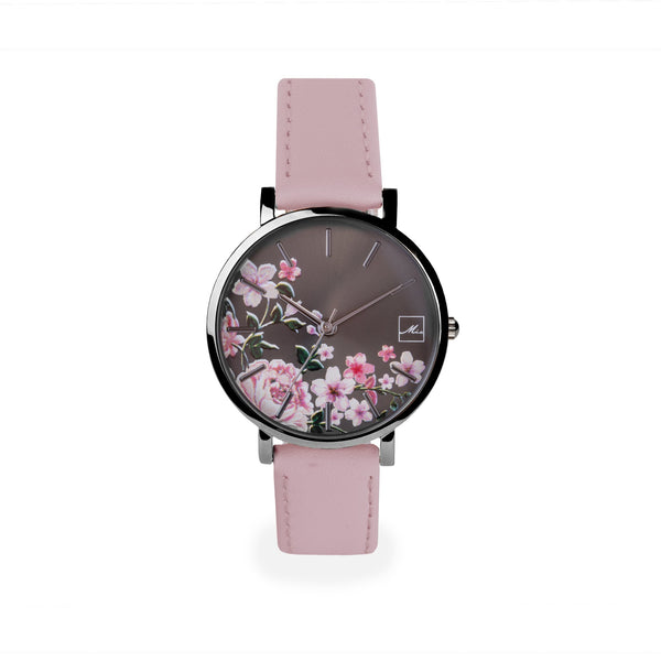 pink and black leather watch with flowers dial W119M01NORO MIA Jewelry