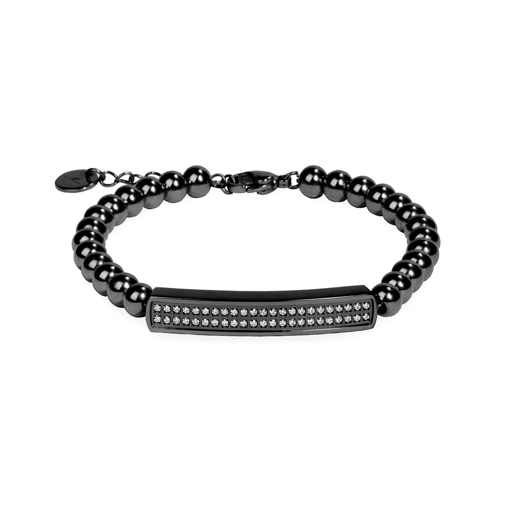 stainless steel black beads bracelet for women