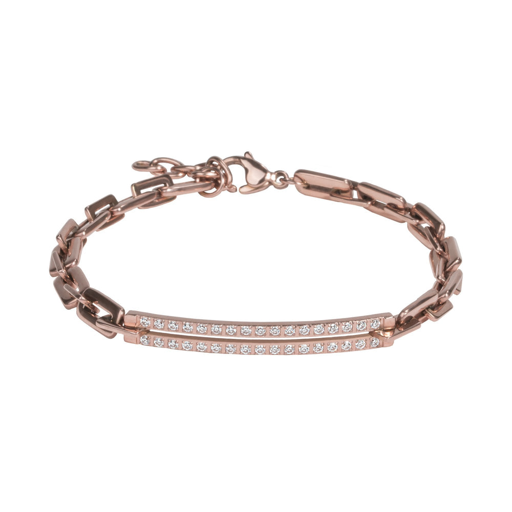 rose gold bracelet with links and stones stainless steel