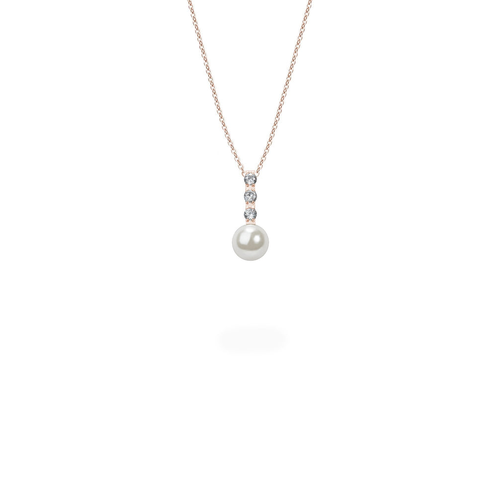rose gold pearl and stones pendant necklace