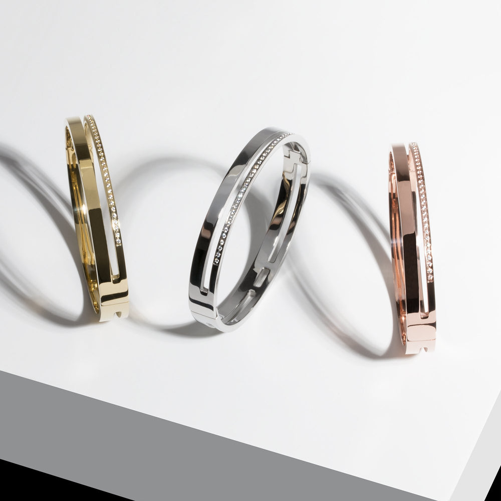 Stainless band of stones bangle