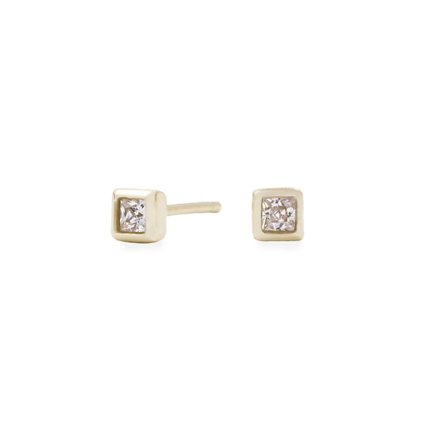 gold 4mm square stone stud earrings hypoallergenic MIAJWL T119E005DO