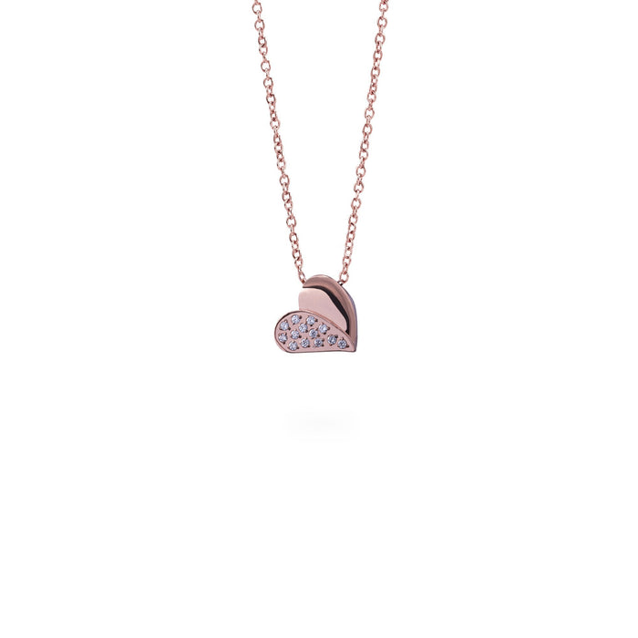 rose gold heart pendant necklace stainless steel