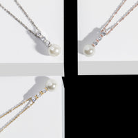 pearl and stones pendant necklace hypoallergenic