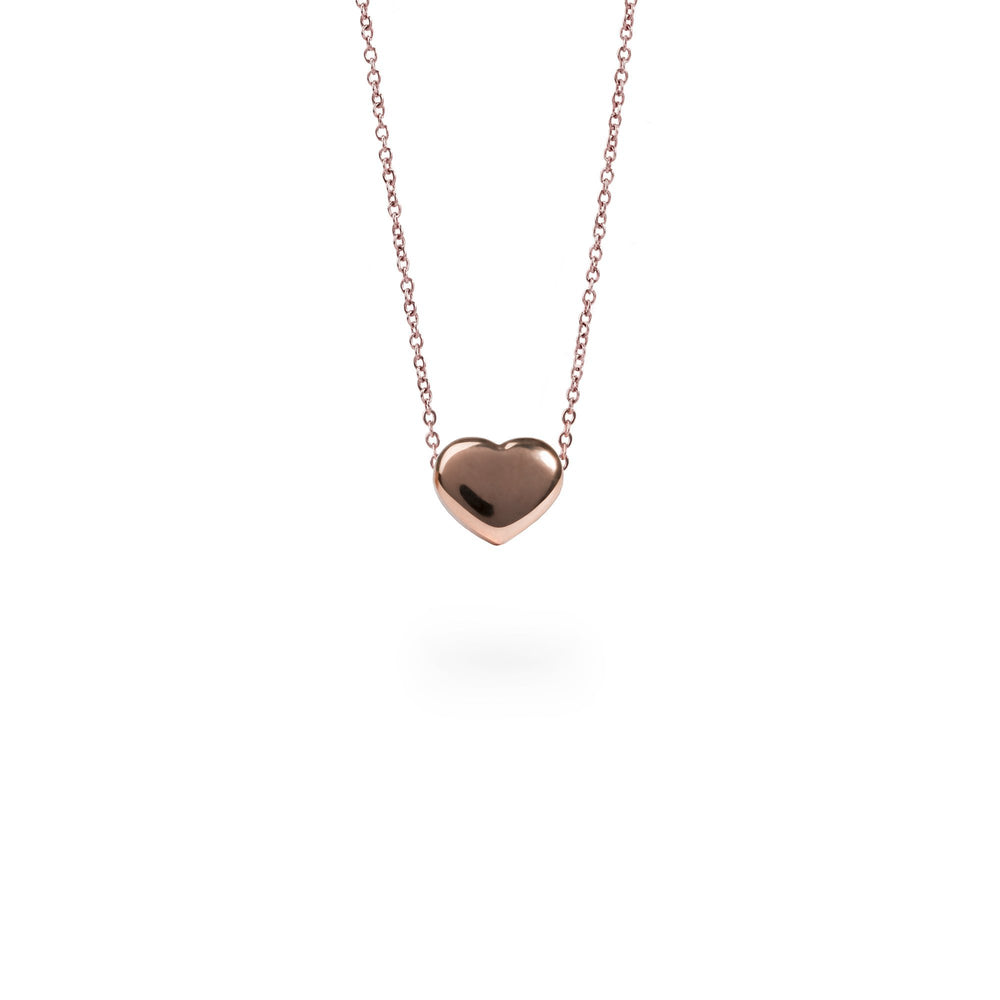 Rose gold classic heart pendant necklace for women miajwl stainless plain heart pendant necklace mozeypictures Image collections