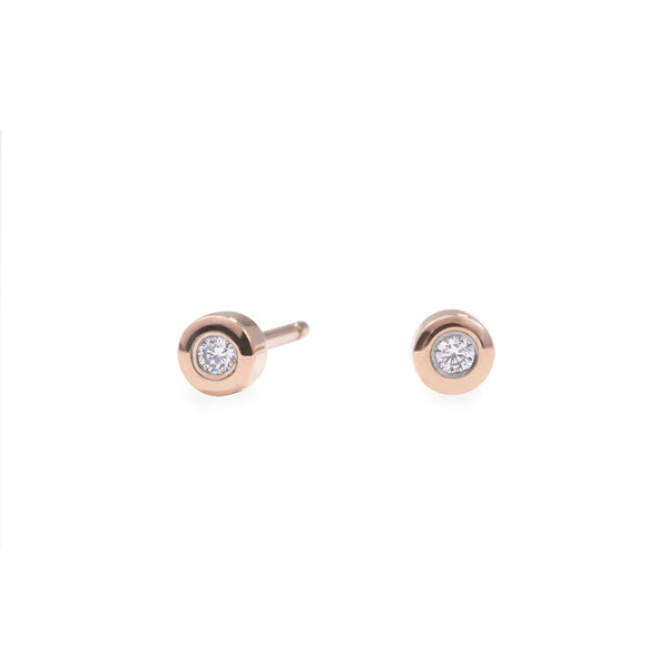 rose gold stainless steel 3mm stud earrings hypoallergenic MIAJWL T119E004DORO