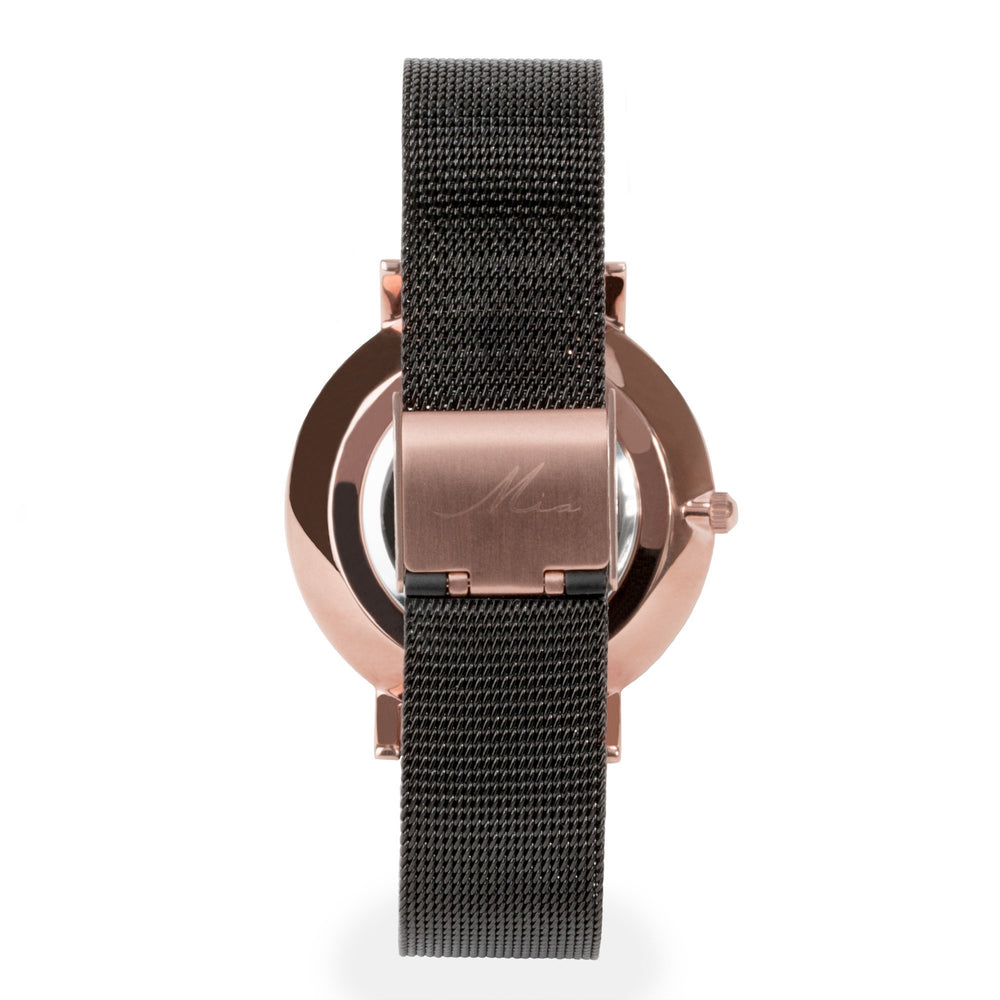 minimal black rose gold watch for women