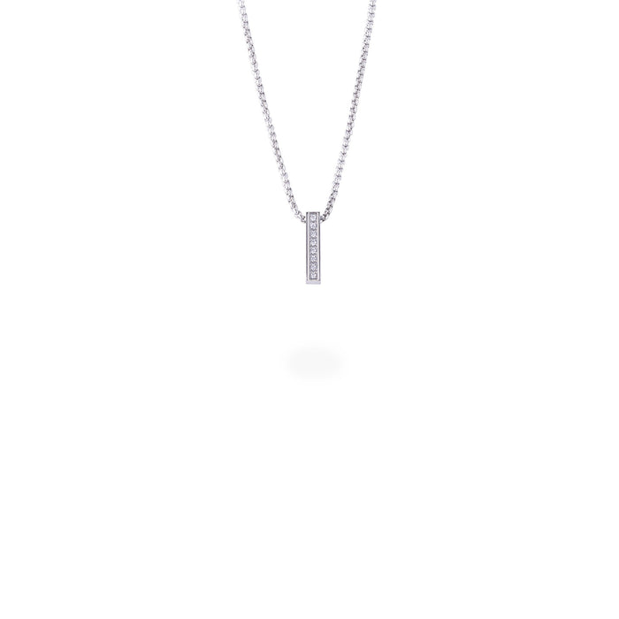 silver minimal bar pendant necklace with stones