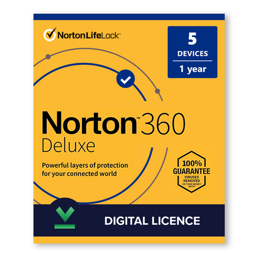 Norton 360 Deluxe 2020 5 Devices, 1 Year - Digital Licence