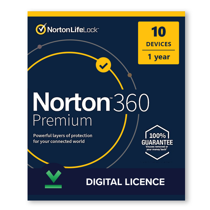 Norton 360 Premium 2020 - 10 Devices, 1 Year - Digital Licence