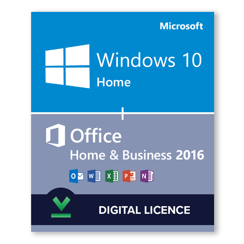 Windows 10 Home + Microsoft Office Home & Business 2016 Bundle Digital  Licences