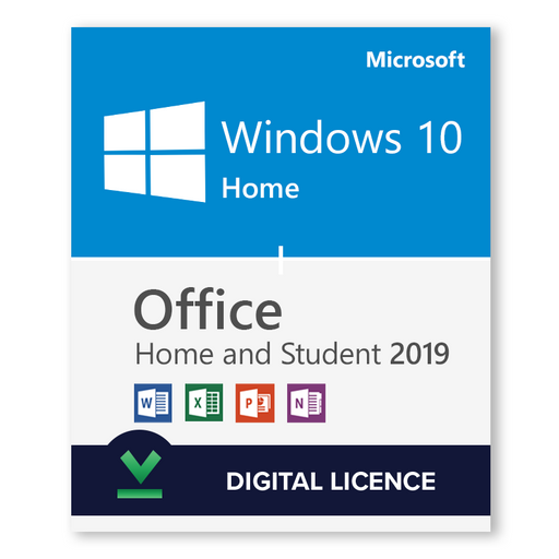 Windows 10 Home + Microsoft Office 2019 Home & Student Bundle - Digital Licences